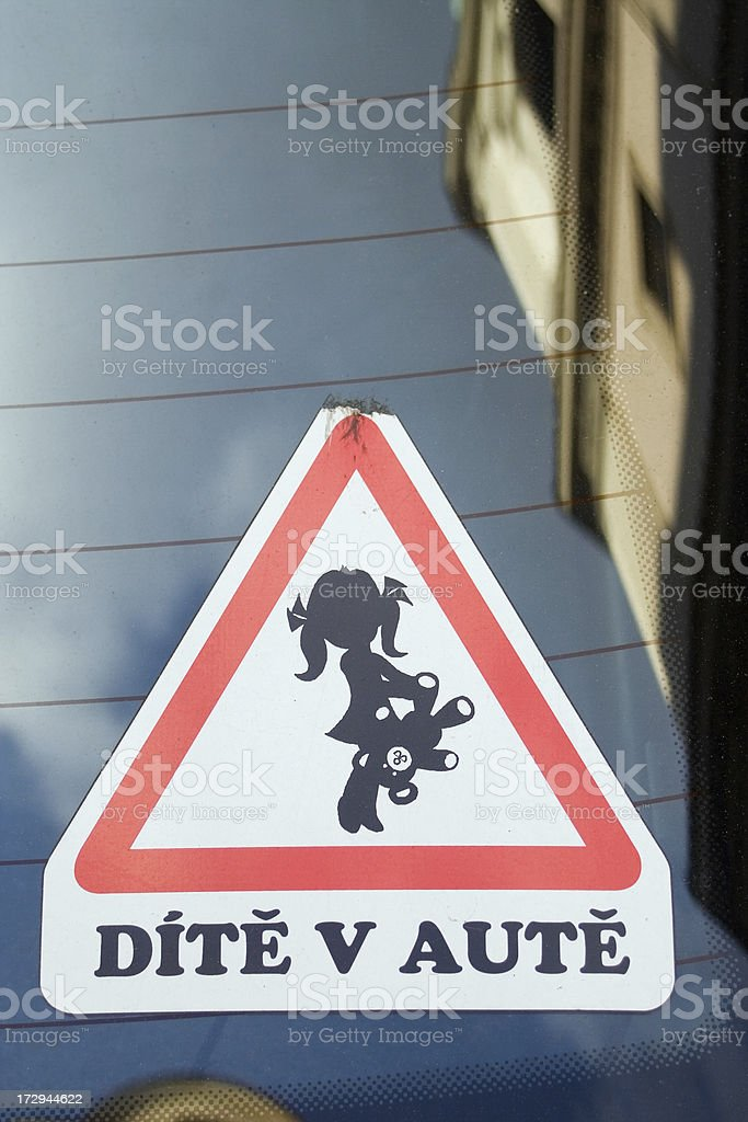 Child in the car sign royalty-free stock photo
