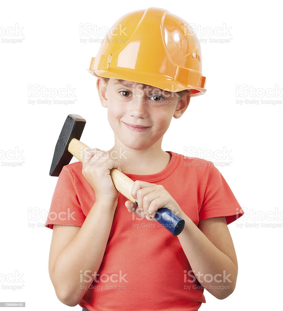 Child in the construction helmet royalty-free stock photo