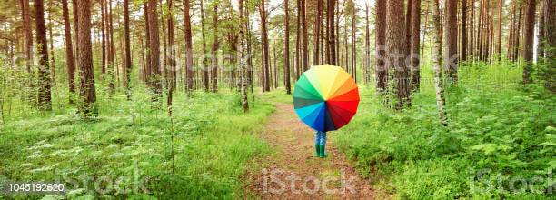 Photo of Child in the park with colourful umbrella