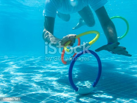 Underwater photo taken of a child learning to swim.