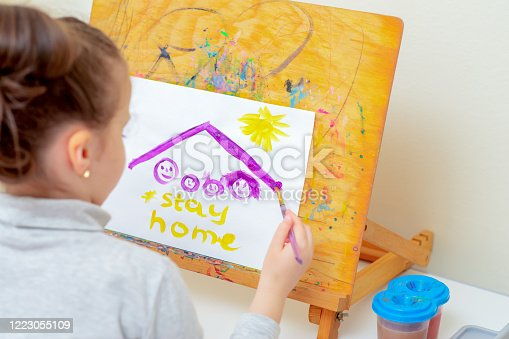 628812970 istock photo Child is drawing picture of family sketch. 1223055109