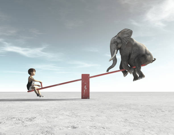 child is in a rocking chair with an elephant. this is a 3d render illustration. - balance graphics foto e immagini stock