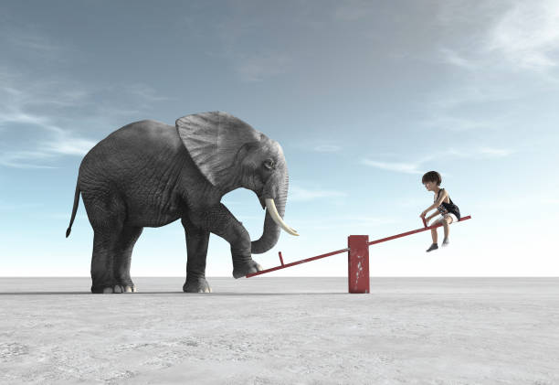 a child is in a rocking chair with an elephant. this is a 3d render illustration. - balance graphics foto e immagini stock