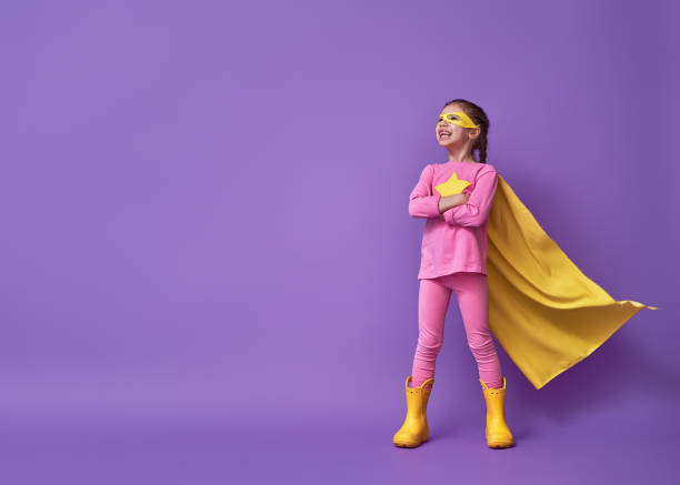 child is playing superhero - super hero stock pictures, royalty-free photos & images