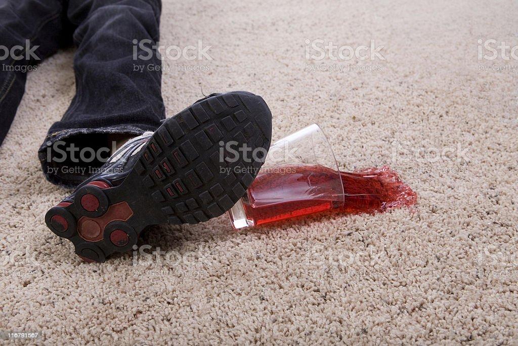 Child Kicking Over Juice on Carpet royalty-free stock photo