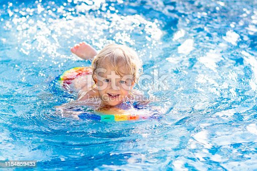 1159904048istockphoto Child learning to swim. Kids in swimming pool. 1154859433