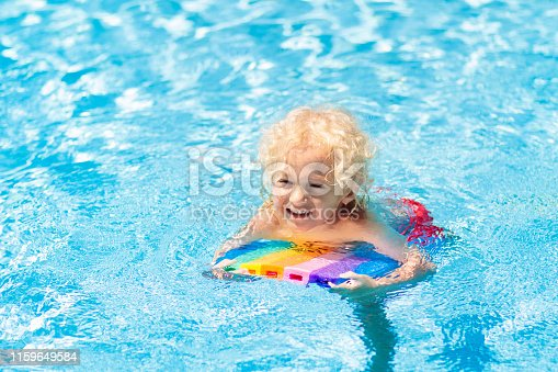 1159904048istockphoto Child learning to swim. Kids in swimming pool. 1159649584