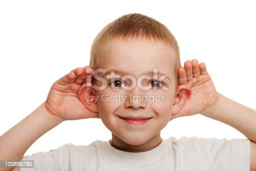 Smiling human child hand listening deaf ear gossip