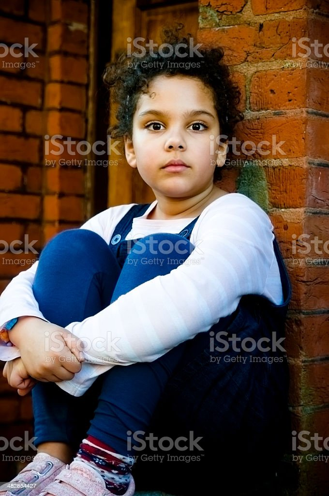 PEOPLE: Child (7-8) Looking Serious stock photo