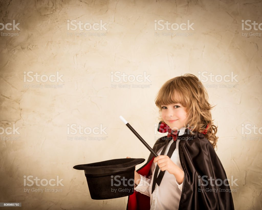 Child magician stock photo