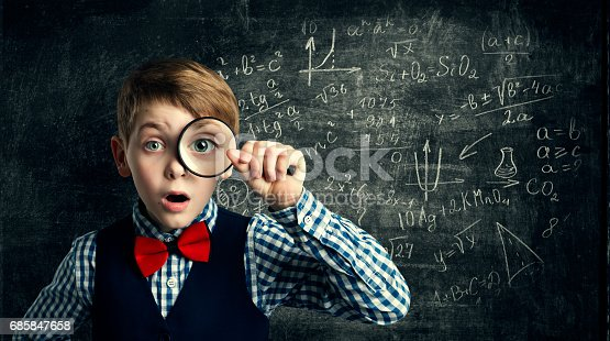 istock Child Magnifying Glass, Amazed School Kid, Student Boy with Magnifier Study Mathematics, Math Education 685847658