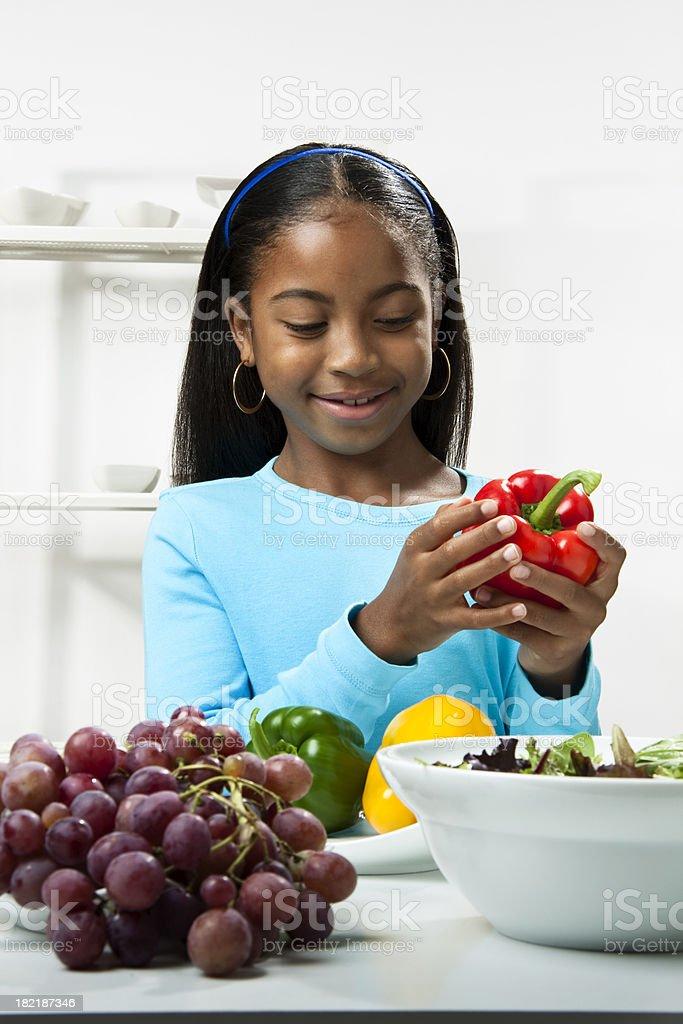 Child making Salad royalty-free stock photo