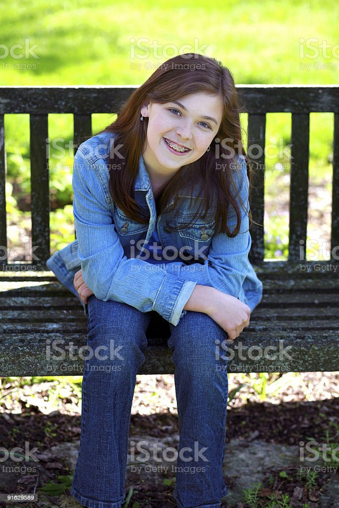 Child on a Bench stock photo