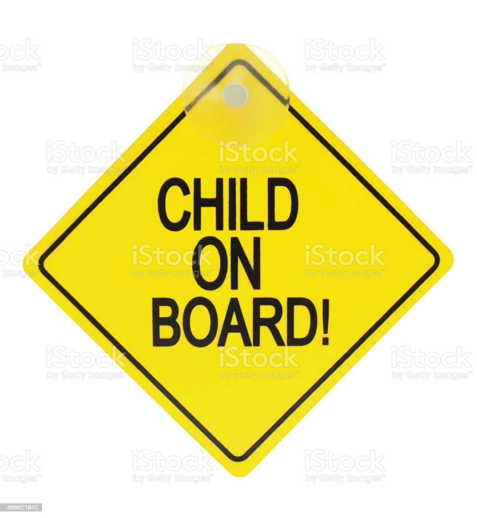 Child on board sign stock photo