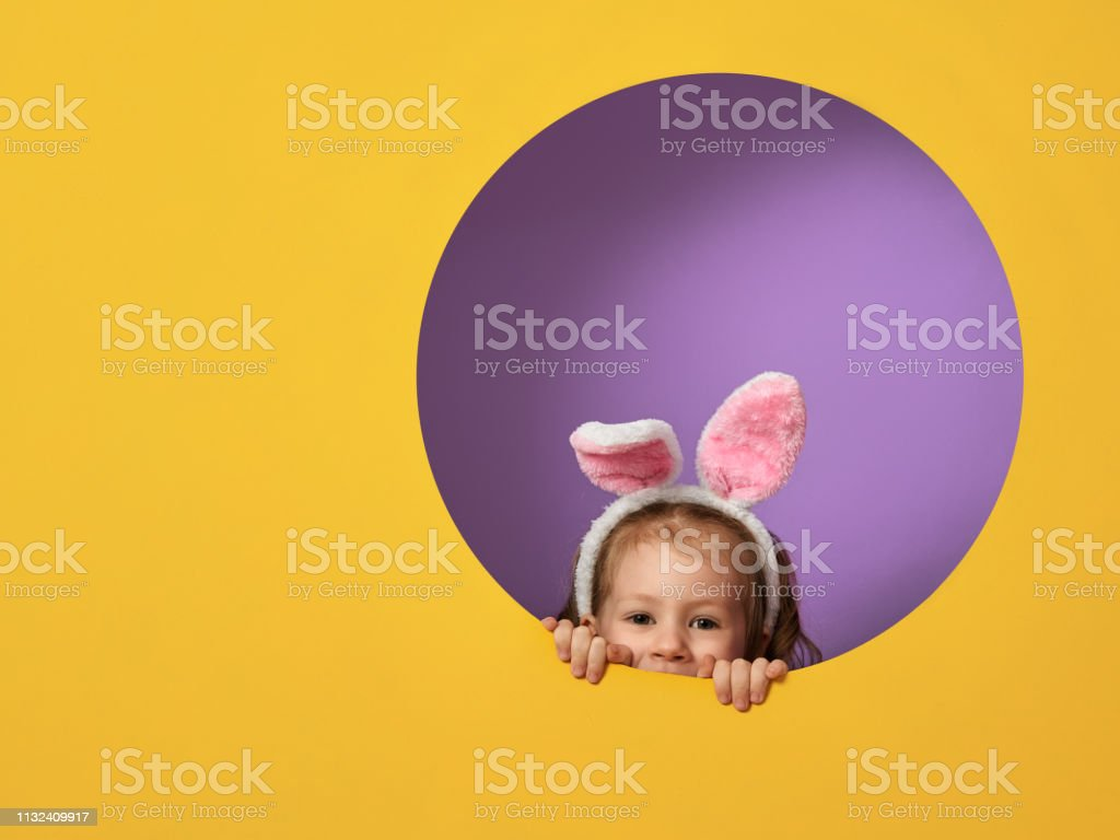 child on Easter day stock photo