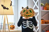 istock child on Halloween 1036194282