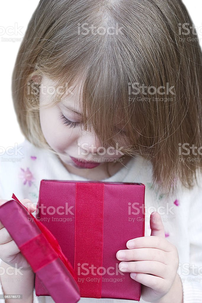 Child Opening Gift royalty-free stock photo
