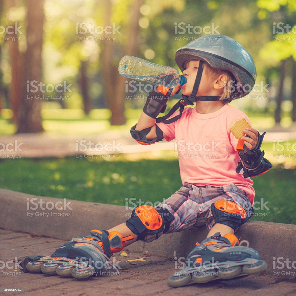 Child outdoors in summer stock photo
