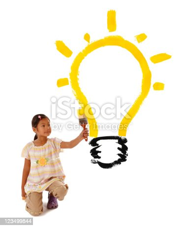 istock Child Painting a Light Bulb 123499844