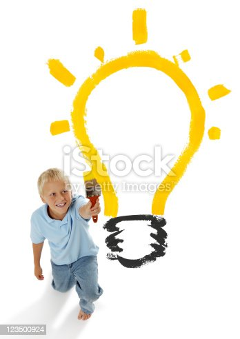 istock Child Painting a Light Bulb 123500924