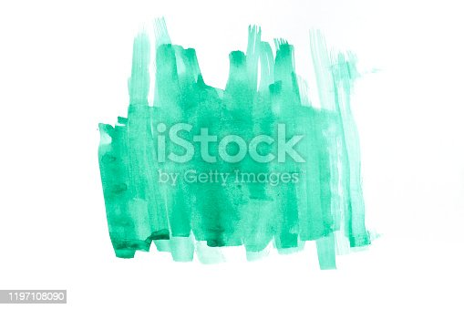 Abstract child's drawing. Green composition on white paper. Art on paper.