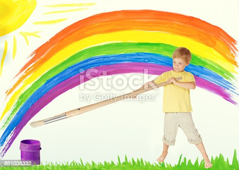 istock Child Painting Rainbow, Creative Kid Draw Color Art Image, Children Dreams and Inspiration 851038332