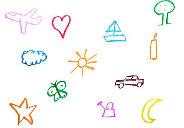 barn målar objekt med kritor - animal doodle bildbanksfoton och bilder
