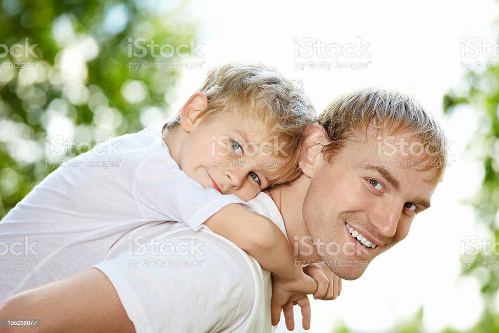 Child piggyback royalty-free stock photo