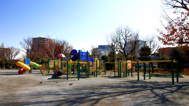 Child playground equipment of park without people Children's leisure leisure equipment stock pictures, royalty-free photos & images