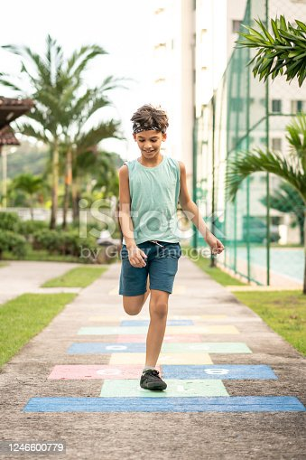 Child, Playing, Hopscotch, Outdoors, Day