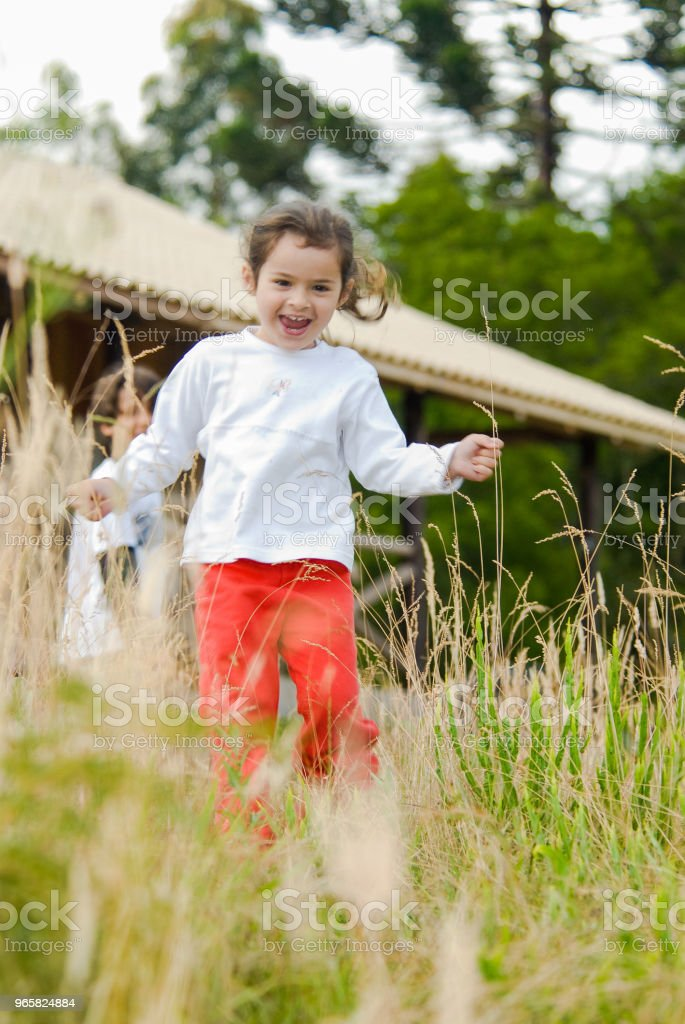 Child playing in the forest in Urubici located in the mountain range of Santa Catarina - Royalty-free Alegria Foto de stock