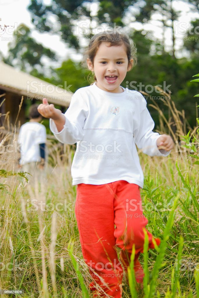 Child playing in the forest in Urubici located in the mountain range of Santa Catarina - Royalty-free Agricultural Field Stock Photo