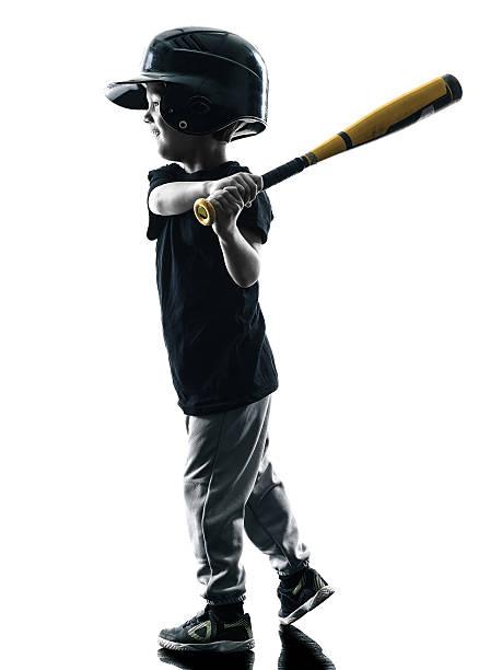 criança tocando softball jogadores silhueta isolado - softbol esporte - fotografias e filmes do acervo