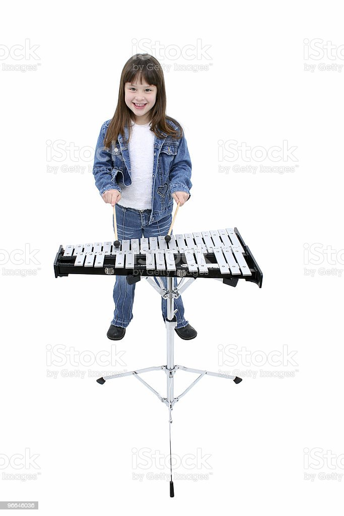 Child (girl) Playing the Bells royalty-free stock photo