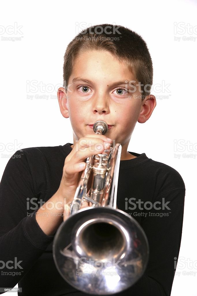 Child Playing Trumpet Instrument royalty-free stock photo