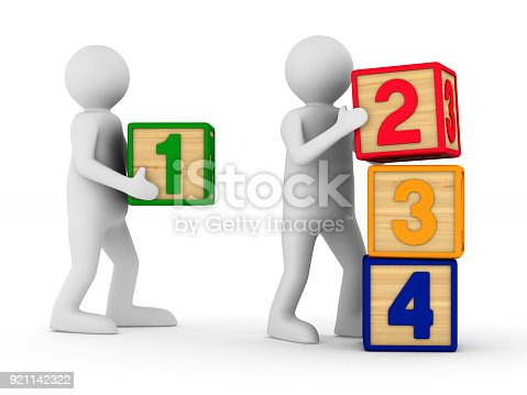 873187696 istock photo child plays cubes on white background. Isolated 3D illustration 921142322