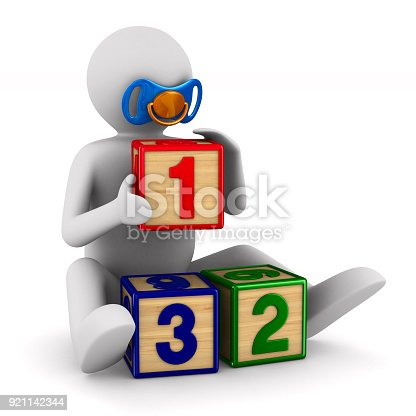 873187696 istock photo child plays cubes on white background. Isolated 3D illustration 921142344