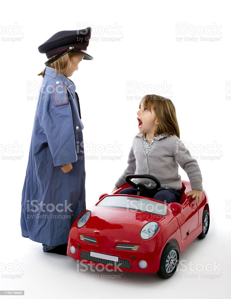 child police speaks with a driver royalty-free stock photo