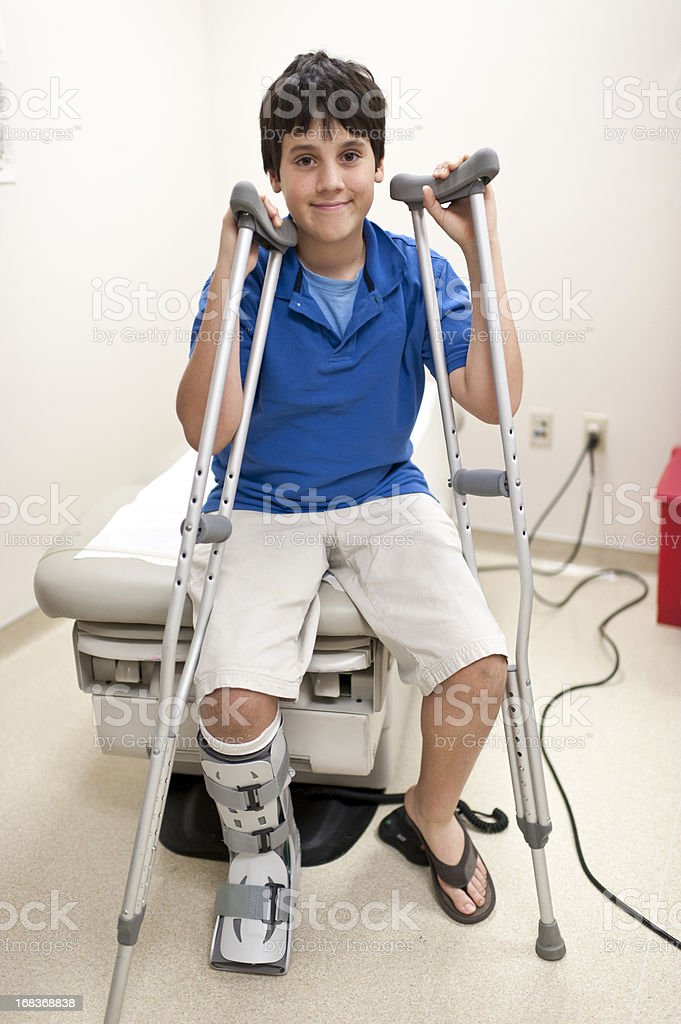 Child posing at doctors office stock photo