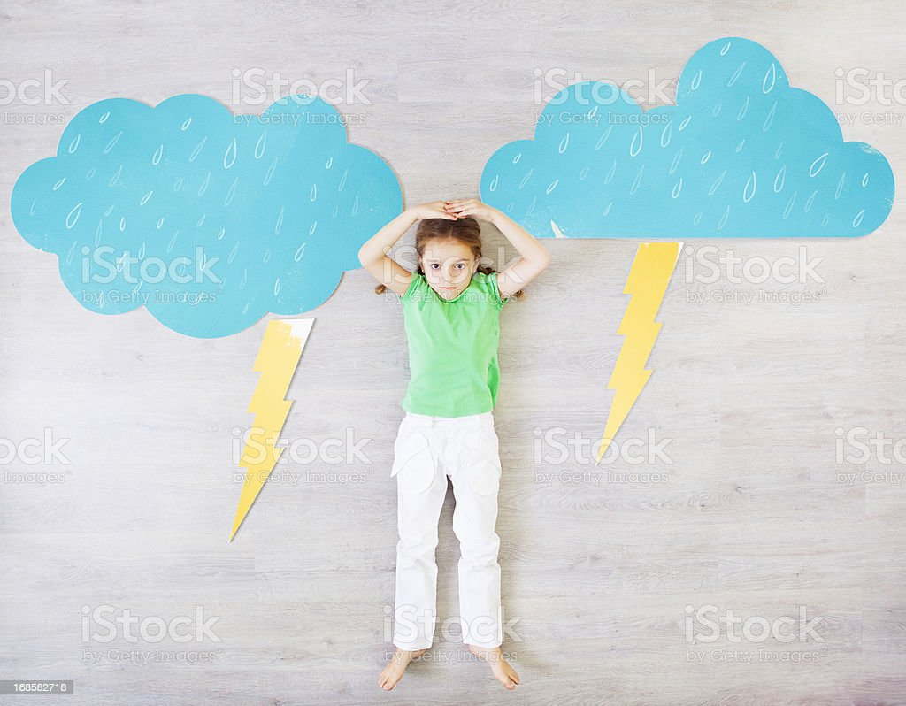 Child Presenting Raining Weather. royalty-free stock photo