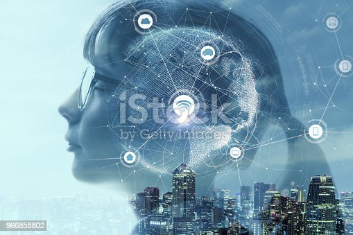 istock Child profile and AI(Artificial Intelligence) concept. 966858802
