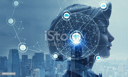 istock Child profile and AI(Artificial Intelligence) concept. 966858806
