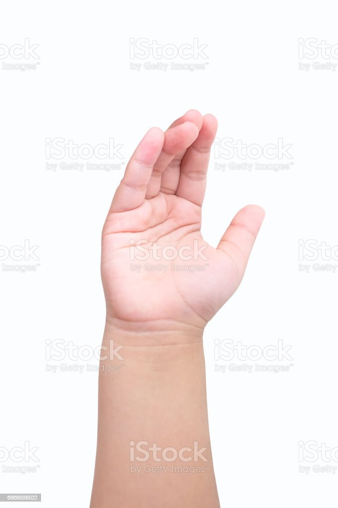 Child raise their hand, isolated on a white background stock photo