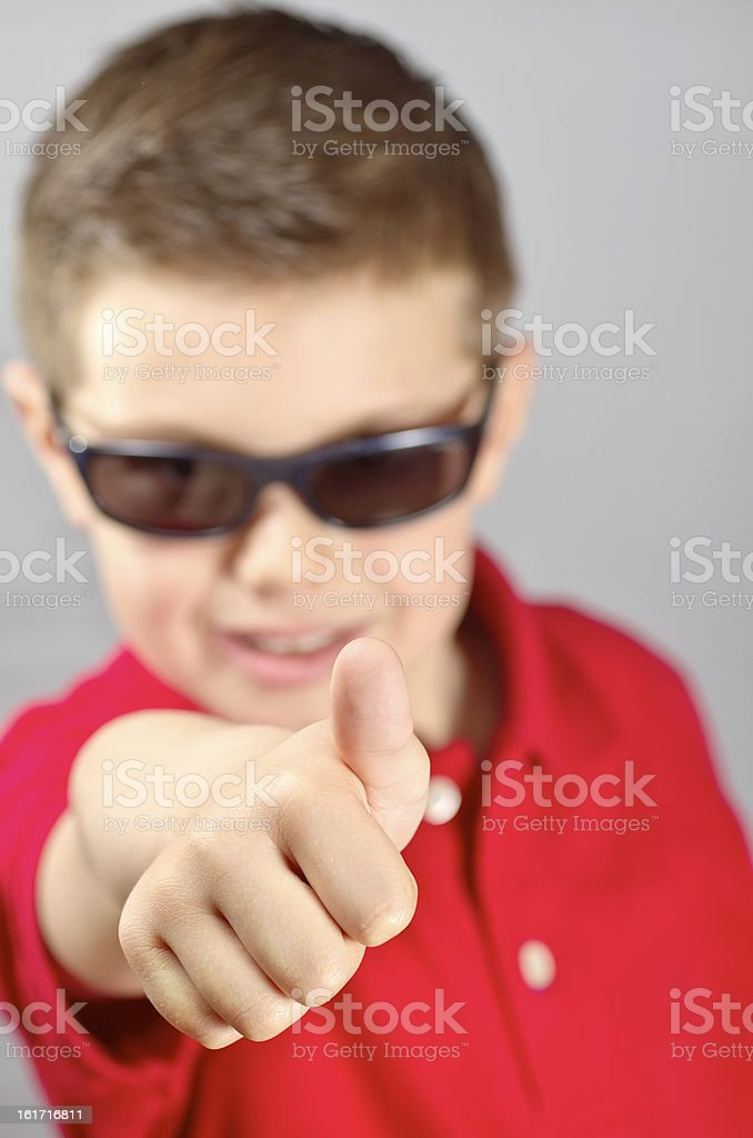 child raising the thumb royalty-free stock photo