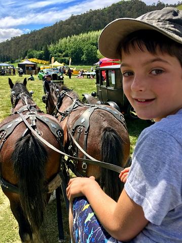 Child Riding Horse Cart at Rural Fair