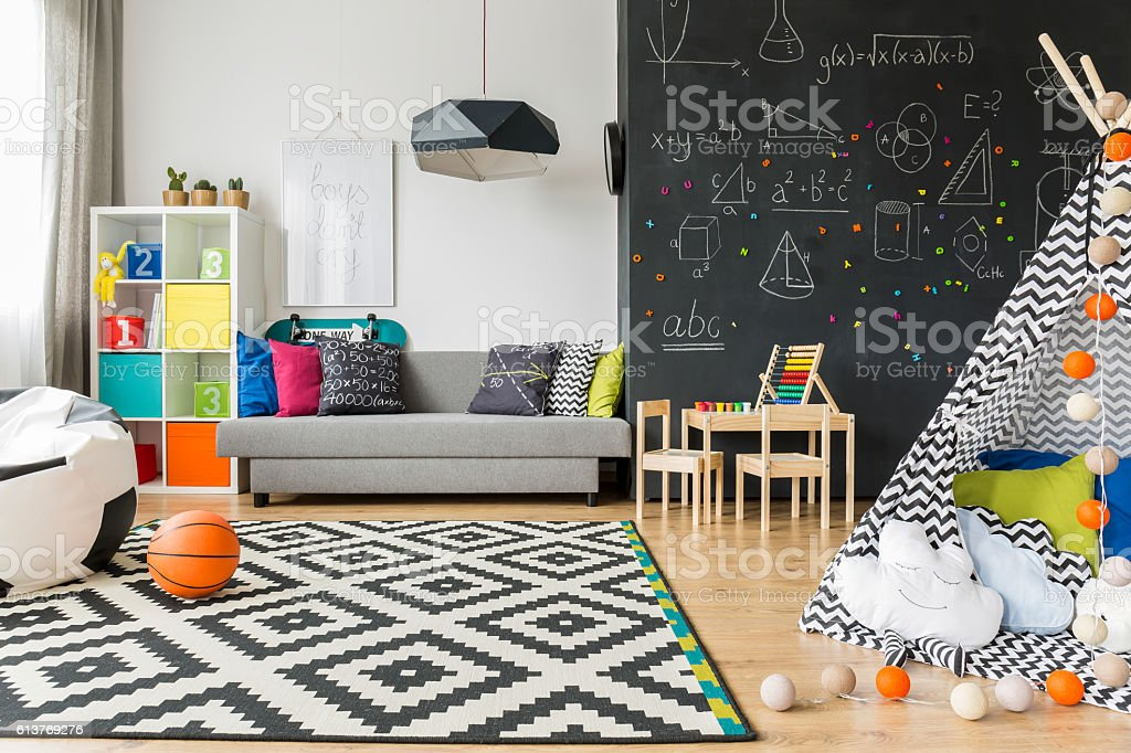 Child room ideal to sleep and play stock photo