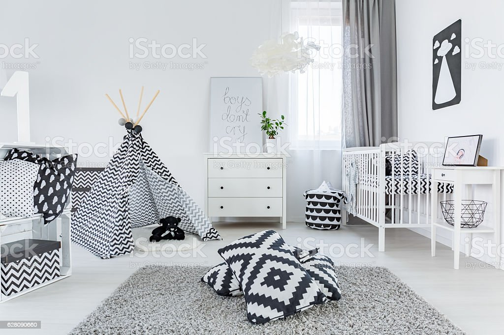 Child room in scandinavian style stock photo