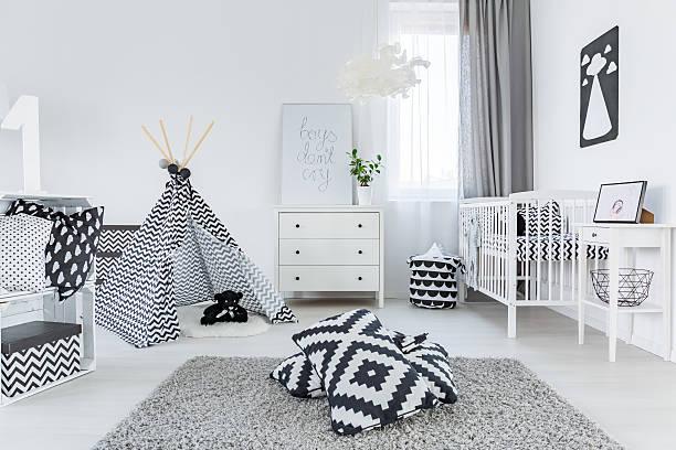 child room in scandinavian style - mädchen vorhänge stock-fotos und bilder