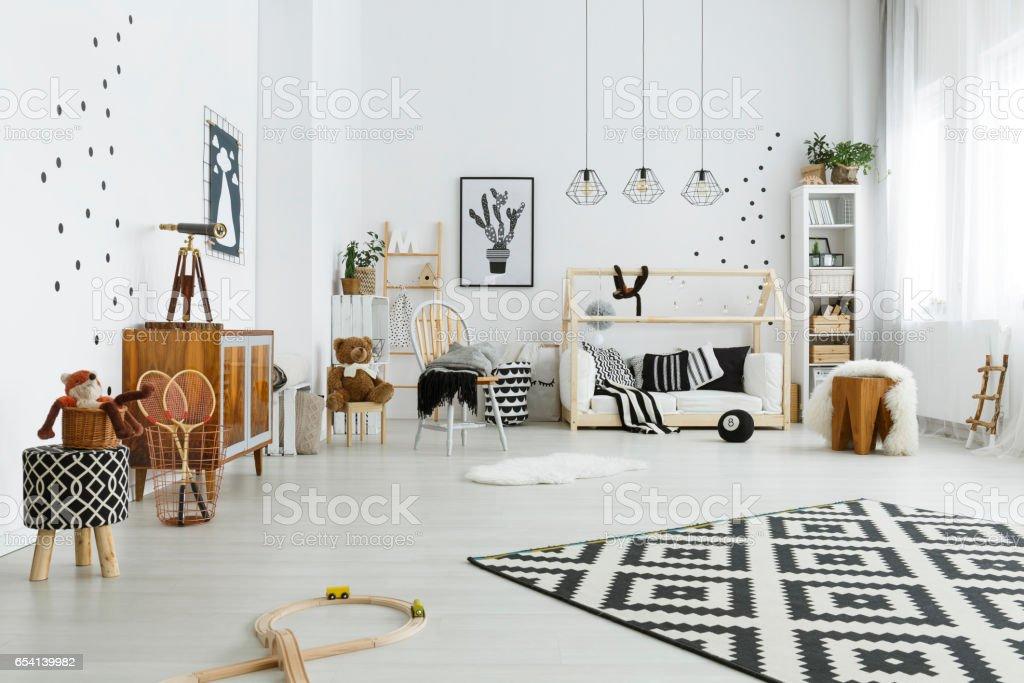 neutrales design einrichtung skandinavischen stil, kinderzimmer im skandinavischen stil stock-fotografie und mehr, Design ideen