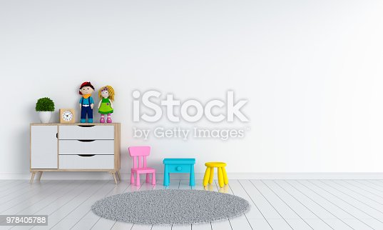 white child room interior for mockup, 3D rendering